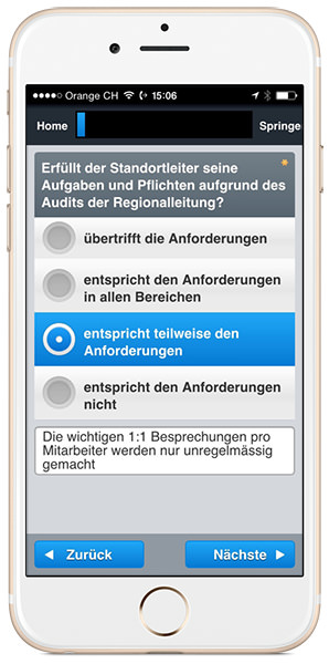 App SmartAudit – Application dans l'iPhone